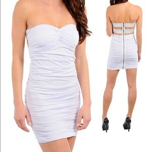 White cocktail evening mini dress clubwear new